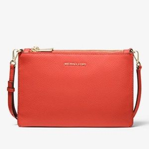 Coral Adele Pebbled Leather Crossbody Bag